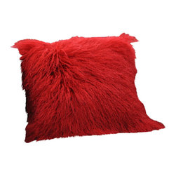 Curly Fur Imports - Tibetan / Mongolian Lamb Fur Pillow Cover - Red - Our world famous dreamy pillows made from 100% real soft and fluffy Tibetan lamb fur on one side of the pillow, backed with faux suede backing. This pillow is fully lined on both the front and back to provide stability and longevity. You can fill the pillow with a stuffing material or a pillow of your choice. It add a touch of softness, beauty, and warmth to any room. The fur is over 3.5 inches long. All colors are professionally dyed. Tibetan lamb fur is a luxurious fur that is incredibly soft, silky and curly.