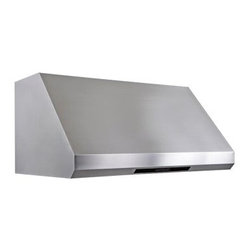 Cavaliere 36W in. Beveled Front Under Cabinet Range Hood - With its premium stainless steel and beveled front design, the Cavaliere 36W in. Beveled Front Under Cabinet Range Hood is a stylish addition to your kitchen. Designed to be powerful, this range hood quickly clears the air of smoke and odors and also lets you keep your cabinet space. It mounts under existing cabinets and is made of 19-gauge brushed stainless steel with a beveled front design. Its ultra-quiet 360W dual chamber motor offers four powerful speeds and a handy timer. Dishwasher-safe, stainless steel baffle filters quickly clear the air. A touch sensitive keypad with LED blue lights and two halogen lights ensure your kitchen work space is even more convenient. The heat sensitive auto speed function controls the fan speed automatically so you don't need to worry about it. Additional Information: 4 speed levels with timer functionTouch sensitive LCD keypad with blue LED lightsDishwasher-safe stainless steel baffle filtersAirflow: 1000 CFM Two 35-watt halogen lightsHeat sensitive auto speed function controls speed automaticallyAbout CavaliereCavaliere offers a complete stainless steel range hood collection. They blend superior components with the latest technologies to create range hoods that cater to your needs. Cavaliere has a special understanding of the kitchen environment, ergonomics, aesthetics, and integration within your home or workplace. They specialize in wall-mounted, island, or under cabinet range hoods that make a statement in your kitchen.