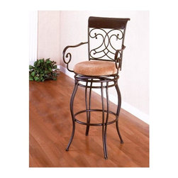 Coaster - Metal Stool w Upholstered Seat (24 in.) - Choose Seat Height: 24 in.Traditional dark brown barstool features scrolled metal arms and a round padded cushioned seat. Attractive brown finish on the graceful metal  frame adds to the classic good looks.  This comfortably padded barstool come in 24 and 29 inch seat heights. * Flowing legs. Curvaceous arms. The dark brown metal frame offers a uniquely designed seat back. Metal seat back offers a sleigh design and decorative curves. The neutral upholstered seat brings calming character to the silhouette, providing comfort. Made from metal. 21 in. Dia. x 40 in. H. WarrantyAccentuate your casual dining area with the simple elegance of this 24 inch counter stool. Whether you arrange with a gathering height dining table or use as additional seating for guests, this counter height stool will make a wonderful addition to your home.