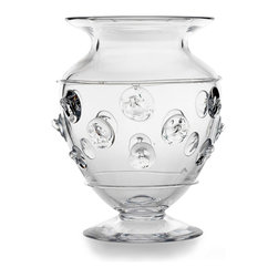 Florence Urn Vase - Generous in size, its adornment applied with a free hand for a refreshing dimension, the Florence Urn Vase makes a stylish display for garden blooms, fragrant green herbs, or fillers of all varieties. The glass dots which detail the frieze of the sides complicate this vessel's clarity, but keep its look feather-light despite the somewhat whimsical weight of the texture.