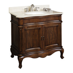 American Imaginations - 36-in. W x 21-in. D Traditional Birch Wood-Veneer Vanity Base Only - This traditional vanity base belongs to the exquisite Antique design series. It features a rectangle shape. This vanity base is designed to be installed as an floor mount vanity base. It is constructed with birch wood-veneer. This vanity base comes with a lacquer-stain finish in Distressed Antique Cherry color. A large two-door cabinet with matching antique hinges. Cabinet hardware included. This Vanity Base features White hardware. No assembly required. Vanity base only; top not included. Acceessories not included.