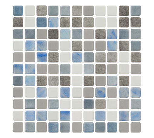 Susan Jablon Mosaics - Gray Silver Blue And White Recycled Glass Tile - Five different glass tiles in shades of gray, silver, blue and white are combined to form this custom mosaic blend we will make by hand for you in our studios in upstate New York. 100% recycled glass tile. Perfect for interior or exterior installations. Eco-friendly never looked so good! Certified by the U.S. Green Building Council for L.E.E.D. Projects, the beauty of these recycled glass tiles prove you don't need to sacrifice to be sustainable. They are suitable for a wide range of uses, indoors and outdoors, in dry or wet locations. A custom mosaic design using these tiles can make a gorgeous, responsible, design statement in your pool, kitchen bathroom, dining room – anywhere! It is very easy to install as it comes by the square foot on mesh and it is very easy to clean! About a decade ago, Susan Jablon re-ignited her life-long passion for mosaics and has built a customer-focused, artist-driven, business offering you the very best in glass and decorative tiles and mosaics. We are a glass tile store committed to excellence both personally and professionally. Please note that the images shown are actual photographs of the tiles however, colors may vary due to the calibration of each individual monitor. This mosaic features recycled, iridescent and speckled glass tiles.