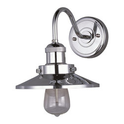 Maxim Lighting - Maxim Lighting Mini Hi-Bay 1-Light Wall Sconce with Bulb X-IUB/NP08052 - Small pendants reminiscent of yesteryear are available in your choice of Bronze, Antique Copper, Satin Nickel, and Polished Nickel. In addition to the numerous metal shades, glass shades in Clear, Mirror Smoke, and Satin White are also offered. The optional Antique Replica light bulb adds to the authentic look.