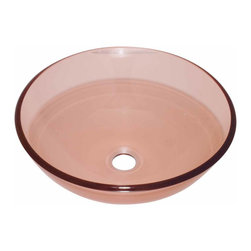 Renovators Supply - Vessel Sinks Red Rose Glass Praego Round Vessel Sink | 12807 - Glass Vessel Sinks: Single Layer Tempered glass sinks are five times stronger than glass, 1/2 inch thick, withstand up to 350 F degrees, can resist moderate to high degrees of impact and are stain-proof. Ready to install this package includes FREE 100% solid brass chrome-plated pop-up drain, FREE machined 100% solid brass chrome-plated mounting ring and silicone gasket. Measures 16 1/2 inch diameter x 6 inch deep x 1/2 inch thick.
