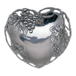Arthur Court - Grape Heart Coupe Tray - Your next Valentine's Day just got even more romantic. Serve up decadent chocolate treats on this sensational heart-shaped tray. Fresh strawberries would also look fantastic next to the lovely grapevine accents.