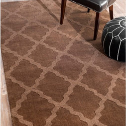 Nuloom - nuLOOM Handmade Moroccan Trellis Brown Wool Rug (7'6 x 9'6) - Add subtle elegance to a room with this exquisite handmade wool rug. Made from Moroccan trellis wool using petit point stitching,the rug is a joy to walk on.