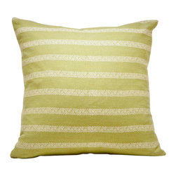 Cricket Radio - Indochine Sea Fern Stripe Pillow, Moss/Tan - Feathery tan stripes on mossy green give this pillow panache. It's handmade and printed in Vermont using Italian linen that only gets softer with time. And there's a cushy down insert inside the 20-inch-square cover that can be removed for easy cleaning.