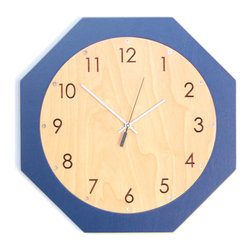 "uncommon handmade - Octoclock - Quiet, 15"" Octagon Wall Hanging Clock - An octagon shaped wall hanging clock for kitchens, dining rooms, offices, nurseries, etc."