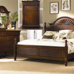 Liberty Furniture - Liberty Furniture Royal Landing Poster Bed & Dresser & Mirror & Chest in Tobacco - Royal Landing is a unique collection with a relaxed traditional look of British Colonial styling and a hint of the tropics.  This style furniture reflects the romance  allure  and excitement of an age of exploration and discovery.  Like taking a trip around the world without ever leaving home.Collection Features: English Dovetail ConstructionFully Stained Interior DrawersComplete Dust ProofingBolt-on Rail SystemFelt Lined Top DrawersWood-on-Wood Drawer GlidesAntique Brass Knob HardwareWood Cup InsertRope Twist MouldingsPineapple AccentsTurned FeetMedia Bay W21xD17xH5.5Full Extension Metal Side Drawer GlidesFrench & English Dovetail ConstructionFully Stained Interior Drawers