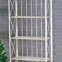 International Caravan - International Caravan Large 5-tier Iron Folding Bakers Rack - Folding bakers rack is great for indoor or outdoor useIron shelf features an antique white finish with EP rust protectionVersatile rack is perfect for indoor storage or as an accent piece