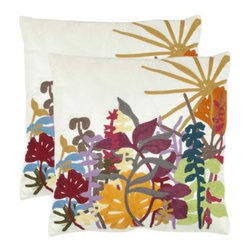 Safavieh Elliott 18 in. Decorative Pillows - Creme - Set of 2 - Inspired perhaps by the fascination modern artists of the 1960s and 1970s have felt for simplified organic forms, the Safavieh Elliott 18 in. Decorative Pillows - Creme - Set of 2 brings a lively vintage look to your room. The clean white background is punctuated by golds, blues, greens, and pinks. Covers can be removed thanks to hidden zippers.About SafaviehConsidered the authority on fine quality, craftsmanship, and style since their inception in 1914, Safavieh is most successful in the home furnishings industry thanks to their talent for combining high tech with high touch. For four generations, the family behind the Safavieh brand has dedicated its talents and resources to providing uncompromising quality. They hold the durability, beauty, and artistry of their handmade rugs, well-crafted furniture, and decorative accents in the highest regard. That's why they focus their efforts on developing the highest quality products to suit the broadest range of budgets. Their mission is perpetuate the interior furnishings craft and lead with innovation while preserving centuries-old traditions in categories from antique reproductions to fashion-forward contemporary trends.