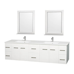 """Wyndham Collection - Centra 80"""" White Double Vanity, White Man-Made Stone Top, Undermount Square Sink - Simplicity and elegance combine in the perfect lines of the Centra vanity by the Wyndham Collection. If cutting-edge contemporary design is your style then the Centra vanity is for you - modern, chic and built to last a lifetime. Available with green glass, pure white man-made stone, ivory marble or white carrera marble counters, with stunning vessel or undermount sink(s) and matching mirror(s). Featuring soft close door hinges, drawer glides, and meticulously finished with brushed chrome hardware. The attention to detail on this beautiful vanity is second to none."""