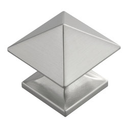 "Hickory Hardware - Square Studio Collection Satin Nickel Cabinet Knob, 1"" - Often characterized with clean, sleek lines. Marked with solid colors, predominantly muted neutrals or bold bunches of color. An emphasis on basic shapes and forms."