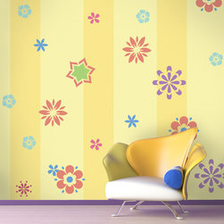 My Wonderful Walls - Fabulous Flower Self-adhesive Stencil Kit for Painting - - 16 individual flower wall stencils