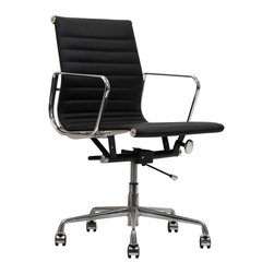 Modway - Black Genuine Leather Ribbed Mid Back Office Chair - Regarded as one of the most iconic designer office chairs of the modern classics, this piece adds weight and poise to your office. With superior comfort and style, this chair is worthy of its fame and perfect for business.