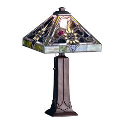 Meyda Tiffany - Meyda Tiffany Lamps Table Lamp in Mahogany Bronze - Shown in picture: Solstice Accent Lamp; Reminiscent Of Provence - This Golden Sunflower And Budding Vines Set Atop A Sky Of Aubergine Granite Colored Glass. This Lovely Shade Is Bordered In Moss Green And Is Paired With A Delicately Ornamented Mahogany Bronze Hand Finished Base.
