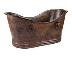 "Premier Copper Products - 60"" Hammered Copper Double Slipper Bathtub With Rings - BRAND: Premier Copper Products"