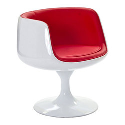 LexMod - Cup Dining Chair in Red Vinyl - Contain far-reaching motivations in one single enclosure. With its open front and insulated fiberglass casing, the Cup Chair is a cache of stable exuberance made public. Give an appreciative tone to your room with a piece that fosters gratitude and comfort.