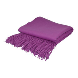 "Pur by Pur Cashmere - Signature Blend Throw Orchid 50""x65"" With 6"" Fringe - Signature cashmere blend throw 10% cashmere / 80% wool / 10% microfine Dry clean only. Inner mongolia."
