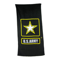Zeckos - United States Army Black Beach Towel 60 Inches X 30 Inches - This black terrycloth beach towel features the star logo of the United States Army. The towel measures 60 inches long, 30 inches wide, with sewn edges to prevent fraying. It makes a great gift for current soldiers, veterans and proud families of soldiers.