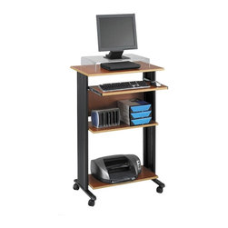 Safco - Muv Stand-up Fixed Height Workstation in Cherry - Highlighted by multiple storage shelves, this stand up workstation will be a versatile addition to any office. Made of steel and pressed wood in cherry finish, it has a slide out keyboard tray and molded side panels for hidden cord management and features shelves for books, computer accessories and more. Two locking dual wheel carpet casters. Four Casters. Decoratively molded side panels hides cables for a clean appearance. The keyboard shelf extends 9.75 in. and retracts under the work surface when not in use. Frame made from steel. Shelves made from compressed wood. Powder coat frame and melamine laminate finish. Weight Capacity: 100 lbs. (Desk Top), 25 lbs. (Keyboard Tray). Keyboard Shelf Dimensions: 24.75 in. W x 13.5 in. D. Worksurface Height: 45 in.. Worksurface Dimensions: 29.5 in. W x 19.75 in. D x 0.75 in. H. Overall: 29.5 in. W x 22 in. D x 45 in. H (61 lbs.). Assembly InstructionWhat's your Muv? No matter the setting the Muv workstation is the right choice. This mobile workstation is great in the computer lab, library, media center, server room, classroom, faculty lounge, print shop or conference room. It's your Muv.