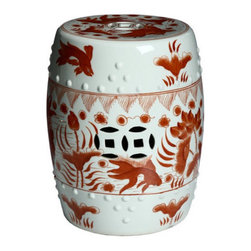 Red/White Porcelain Stool - The koi fish keep this stool playful and energizing.