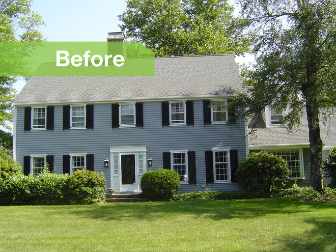 Houzz tour renovations modernize a 1970s new jersey colonial for Colonial home additions