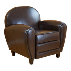 Great Deal Furniture - Rich Brown Espresso Leather Club Chair / Armchair - The rolling curves of this delightfully overstuffed club chair make you want to sit right down and take a one-way ride to the comfort zone. Going far beyond serving its functional purpose, this armchair makes a statement to both the body with a demand for superior leisure and the eye with discriminating taste.