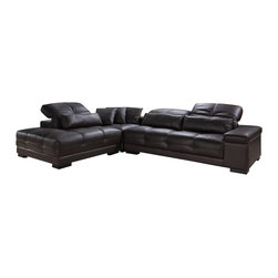 VIG Furniture - Anarchy - Modern Espresso Leather Sectional Sofa - Tufted leather throughout sofa