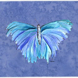 Caroline's Treasures - Butterfly On Slate Blue Kitchen Or Bath Mat 24X36 - Kitchen or Bath COMFORT FLOOR MAT This mat is 24 inch by 36 inch. Comfort Mat / Carpet / Rug that is Made and Printed in the USA. A foam cushion is attached to the bottom of the mat for comfort when standing. The mat has been permenantly dyed for moderate traffic. Durable and fade resistant. The back of the mat is rubber backed to keep the mat from slipping on a smooth floor. Use pressure and water from garden hose or power washer to clean the mat. Vacuuming only with the hard wood floor setting, as to not pull up the knap of the felt. Avoid soap or cleaner that produces suds when cleaning. It will be difficult to get the suds out of the mat