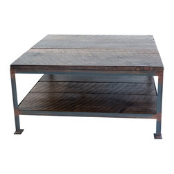 """Handcrafted - Handcrafted Square Industrial Steel and Salvaged Wood Coffee Table - 36""""W x 36""""L x 18""""H coffee table with dual shelves. The base was welded in our shop using 1.25"""" angle iron and was finished with a rust patina then clear coated. The wood is 100+ years old and came from a barn in the foothills of the Appalachian Mountains."""
