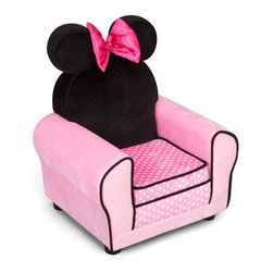 Delta Children's Products - Minnie Mouse Kid's Club Chair - Minnie Mouse arm chair is the perfect spot for your little Mouseketeer to watch her favorite show. Soft and cozy micro fiber fabric is easy to clean with mild soap and water. The roomy seat measures approximately 15 x 15. The hard resign legs screw on easily for the finished look. Coordinating Mickey Mouse Chair sold separately. Additional Minnie Mouse upholstered furniture such as toy box, recliner and more sold separately. Features: -Chair.-Material: Micro fiber fabric.-Child's-size chair.-Sturdy frame for durability.-Ideal for reading and watching TV.-Cute bow accent.-Collection: Minnie.-Distressed: No.-Country of Manufacture: United States.Dimensions: -Weight: 25 pounds.-Seat Cushion Thickness: 3''.-Back Dimensions: 12''H x 12''W.-Back Cushion Thickness: 5.5''H.-Leg Height: 1''H.-Seat Dimensions: 9''H x 9''W x 9.5''D Seat.-Dimensions: 17''H x 21''W x 16''D.-Overall Product Weight: 25 lbs.