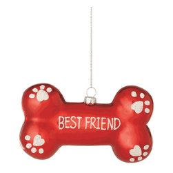 "Midwest CBK - Dog Bone Best Friend Christmas Tree Ornament - Pet Doggy Holiday Gift Decoration - ""Best Friend"" Dog Bone Ornament"
