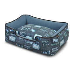 P.L.A.Y. - P.L.A.Y. Dog's Life Lounge Bed Sofa Blue/Ash Gray Large - This lounge bed displays your dog's entire routine life perfectly with words like chew, bark, stay, play, sit, wag, drool, snore, and the like. The elevated sides on this bed will make your dog's life much easier and comfortable because your dog will be able to rest its head conveniently while napping. The velvet and soft material can be washed in the machine and even dried to keep it clean always.  Artwork created exclusively for P.L.A.Y. by NY local artist Rosalind R. Ultra-soft velvet material with custom-made P.L.A.Y. zipper. Furniture-grade craftsmanship and even-basting stitching ensures dog-years of use. Filled with the perfect amount and density of high-loft PlanetFill filler.  filler is made from 100% post-consumer certified-safe recycled plastic bottles. Machine washable and dryer friendly. Momo-approved and tested by her four-legged friends.