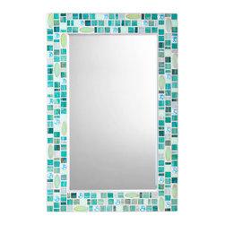 "Mosaic Wall Mirror - Teal, Green & Blue (Handmade), 30"" X 24"", Vertical - MIRROR DESCRIPTION"