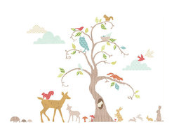 """FunToSee - Woodland Tree Wall Decal Nursery Decor Kit, - Decorate your nursery walls with the Woodland Tree Nursery Wall Decal Kit. Deer, rabbits, squirrels, hedgehogs and owl decals can be placed around the 48"""" tall woodland tree wall decal, while birds flutter in the sky amongst the stylized cloud decals. The FunToSee Nursery Tree Wall Decal Kit contains 76 nursery wall decals for you to design your own tree and woodland scene on nursery and bedroom walls and furniture. FunToSee Tree Wall Decals can be repositioned, so they are very easy to apply, and they can be wiped clean with a damp cloth. When you are ready for a new look, or would like to move the decals they peel off easily and cleanly. This wildlife and tree design is a beautiful idea to decorate boy's and girl's bedroom walls, bring a playroom to life or create a tasteful woodland tree nursery feature. FunToSee children's wall decals are proudly made in the UK. FunToSee was founded in 2001 by a mum looking for something imaginative and yet simple to use to decorate her first child's nursery. Over a decade later FunToSee have become a trusted and recognized nursery wall decor brand all over the world. Instructions: Simply open the nursery wall decal kit, peel off a decal and apply the wall decal to a clean, dry and flat surface. Use a soft cloth to smooth over the entire nursery decal image, especially the decal edges. To reposition or remove the decal from nursery walls, peel the decal off the wall slowly. Stick the decal back onto the nursery decal backing sheet to store for future use or when moving the nursery decal to a new location."""