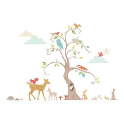 "FunToSee - Woodland Tree Wall Decal Nursery Decor Kit, - Decorate your nursery walls with the Woodland Tree Nursery Wall Decal Kit. Deer, rabbits, squirrels, hedgehogs and owl decals can be placed around the 48"" tall woodland tree wall decal, while birds flutter in the sky amongst the stylized cloud decals. The FunToSee Nursery Tree Wall Decal Kit contains 76 nursery wall decals for you to design your own tree and woodland scene on nursery and bedroom walls and furniture. FunToSee Tree Wall Decals can be repositioned, so they are very easy to apply, and they can be wiped clean with a damp cloth. When you are ready for a new look, or would like to move the decals they peel off easily and cleanly. This wildlife and tree design is a beautiful idea to decorate boy's and girl's bedroom walls, bring a playroom to life or create a tasteful woodland tree nursery feature. FunToSee children's wall decals are proudly made in the UK. FunToSee was founded in 2001 by a mum looking for something imaginative and yet simple to use to decorate her first child's nursery. Over a decade later FunToSee have become a trusted and recognized nursery wall decor brand all over the world. Instructions: Simply open the nursery wall decal kit, peel off a decal and apply the wall decal to a clean, dry and flat surface. Use a soft cloth to smooth over the entire nursery decal image, especially the decal edges. To reposition or remove the decal from nursery walls, peel the decal off the wall slowly. Stick the decal back onto the nursery decal backing sheet to store for future use or when moving the nursery decal to a new location."