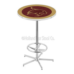 Holland Bar Stool - Holland Bar Stool L216 - 42 Inch Chrome Texas State Pub Table - L216 - 42 Inch Chrome Texas State Pub Table  belongs to College Collection by Holland Bar Stool Made for the ultimate sports fan, impress your buddies with this knockout from Holland Bar Stool. This L216 Texas State table with retro inspried base provides a quality piece to for your Man Cave. You can't find a higher quality logo table on the market. The plating grade steel used to build the frame ensures it will withstand the abuse of the rowdiest of friends for years to come. The structure is triple chrome plated to ensure a rich, sleek, long lasting finish. If you're finishing your bar or game room, do it right with a table from Holland Bar Stool.  Pub Table (1)