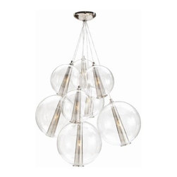 Caviar Cluster Polished Nickel | Clayton Gray Home - A sophisticated cluster of space age nickel and glass globe pendants makes for a striking bubble-like chandelier. Make a stunning first impression by using it in and entry hallway, or bring your dining room up to date. Also available in brown nickel, which has more of a retro modern look.