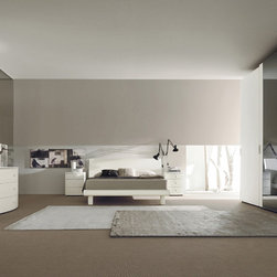 Made in Italy Wood Modern Bedroom Sets with Extra Storage - Modern bedroom set in luxury matte finish with color options. Traditional combination of storages for the night time.  It is also possible to have a storage base on the Orion bed, with gas lift mattress supports so the (sealed) area inside the base can be used for storage.
