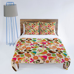 DENY Designs - Valentina Ramos Little Birds Duvet Cover - Turn your basic, boring down comforter into the super stylish focal point of your bedroom with This Deny Designs duvet cover! Custom printed when you order it, this duvet cover is not only personal, but incredibly cozy as well. Created out of woven polyester material that is unique to DENY Designs, our duvets are ultra soft and amazingly comfortable. This duvet cover will make getting out of bed in the morning just a little big harder! Features -Front: Full Color Woven Polyester.-Bottom: Cream color, 50/50 Cotton/Polyester Blend.-Closure: Concealed Zipper.-Machine Wash Cold.-MADE IN USA.