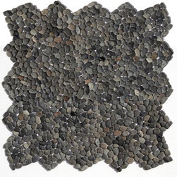 """Glass Tile Oasis - Barbados Black Pebbles & Stones Black Kitchen Tumbled Natural Stone - Sheet size:  12"""" x 12""""        Tile Size:  .50"""" - 1""""        Tile thickness:  1/4""""        Sheet Mount:  Mesh Backed        Stone tiles have natural variations therefore color may vary between sheets.    Sold by the sheet    -  Micro Pebbles are the newest introduction to our wide assortment of decorative pebble mosaics. Small  flatter individual pebbles create a comfortable surface underfoot-perfect as a field tile or an organic accent. With a mesh mounted backing and interlocking edges  these mosaics are easy to install and suitable for a variety of indoor and outdoor applications."""