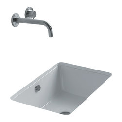 """WS Bath Collections - Sink 50 Under Mounted Bathroom Sink 19.7"""" x 16.0"""" - Sink 50, 19.7"""" x 16.0"""" x 7.1"""", Under Mounted Bathroom Sink in Ceramic White"""