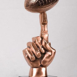 BA - 13 Inch Copper Index Finger Extended Balancing Football Display Statue - This gorgeous 13 Inch Copper Index Finger Extended Balancing Football Display Statue has the finest details and highest quality you will find anywhere! 13 Inch Copper Index Finger Extended Balancing Football Display Statue is truly remarkable.