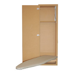 In-Wall Mount Ironing Board with MDF Interior & Paint Grade MDF Door - Hide-A-Board in-wall mount ironing boards provide furniture quality materials and construction, providing convenient storage and hassle free ironing. Made in the USA.