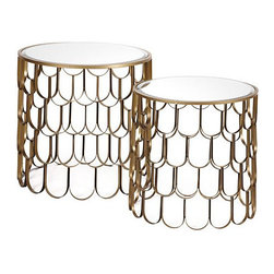 Koi End Tables, Set of 2 - Gold metal looks absolutely divine in these elegant side tables.