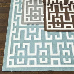 Ballard Designs - Avlon Dhurrie Flatweave Rug - Sizes are approximate. Swatches available. Imported. The classic Greek key motif of our Avlon Dhurrie Rug is hand woven in a durable flat weave of banana silk over wool, so the geometric pattern is crisp and feels softer than a traditional dhurrie. The design is fully reversible, so you can flip it before cleaning. Use of a Rug Pad is recommended.Avlon Dhurrie Flatweave Rug features: . . .