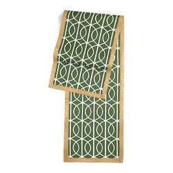 Green Modern Trellis Custom Table Runner - Set a table for a king! or just your family and friends!! with our gorgeous Tailored Table Runner. Solid edging adds a touch of refinement, perfectly setting off the center fabric. We love it in this rounded trellis in emerald green and white on soft lightweight line. Your gateway to a chic modern look.