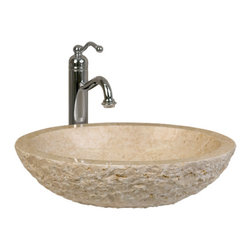 Oval Chiseled Marble Vessel Sink - The Oval Marble Vessel Sink with Chiseled Exterior will add a touch of nature in your lavatory area. Made of natural, hand carved marble, this sink has a polished interior and chiseled exterior. Pair with your favorite vessel filler faucet or wall-mount faucet for the complete look.