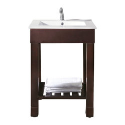 "Avanity - Loft Vanity Only - Who doesn't need more space in the bathroom? Solve your storage conundrum with this sleek vanity. It has an airy quality as well as the solid feel of ""real"" furniture, and features a slatted shelf for towels, paper goods or other necessities."